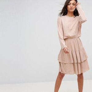 Long Sleeve Ruffle Tiered Dress Light Pink